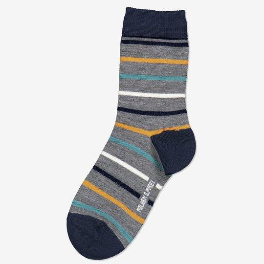 Merinoull stripete sokker gråmelange