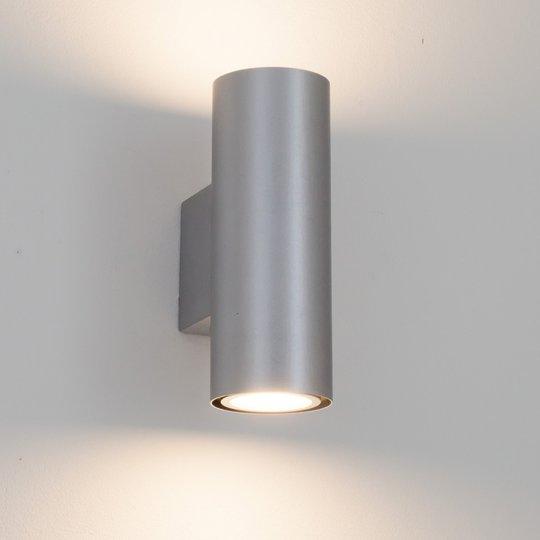 Hopeinen LED-seinävalaisin Kabir, 2-lamppuinen