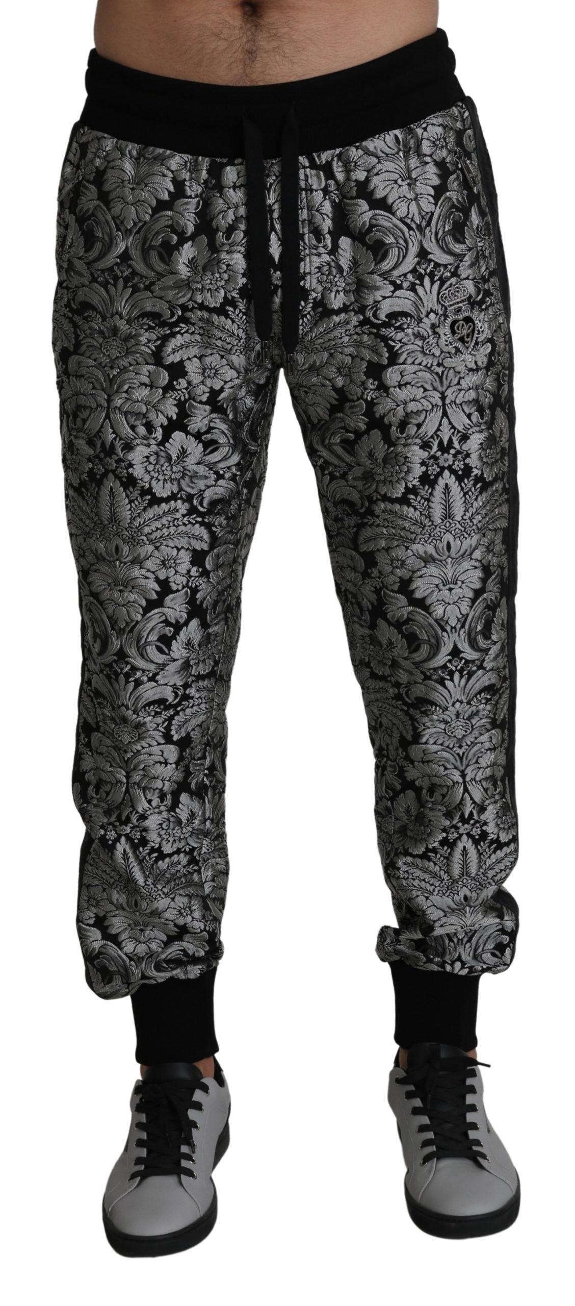 Dolce & Gabbana Men's Jacquard Trouser Silver PAN71400 - IT50 | L