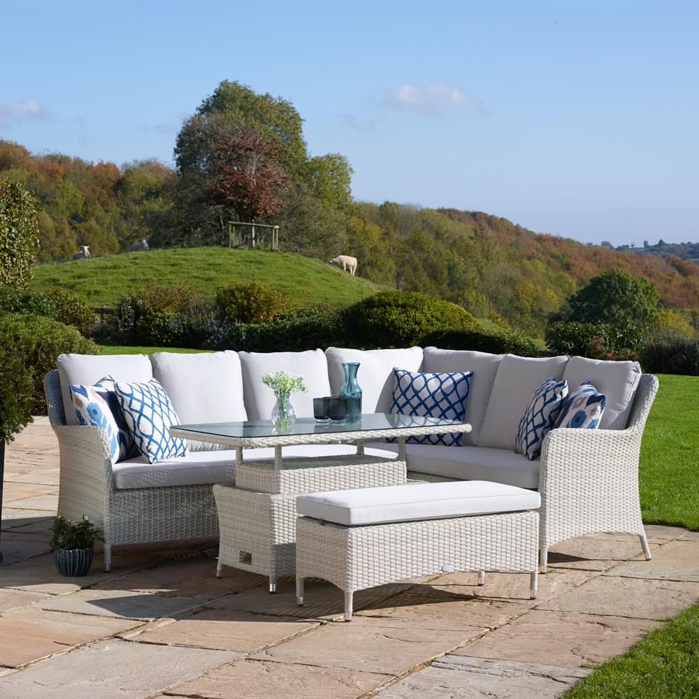 2021 Bramblecrest Tetbury 7-Seat Outdoor Sofa Set With Adjustable Table & Bench - Nutmeg