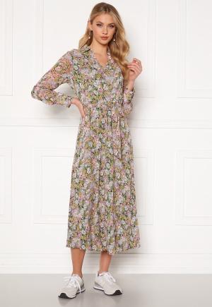 ONLY Ellie L/S Midi Dress Wvn Black, pastel flower L