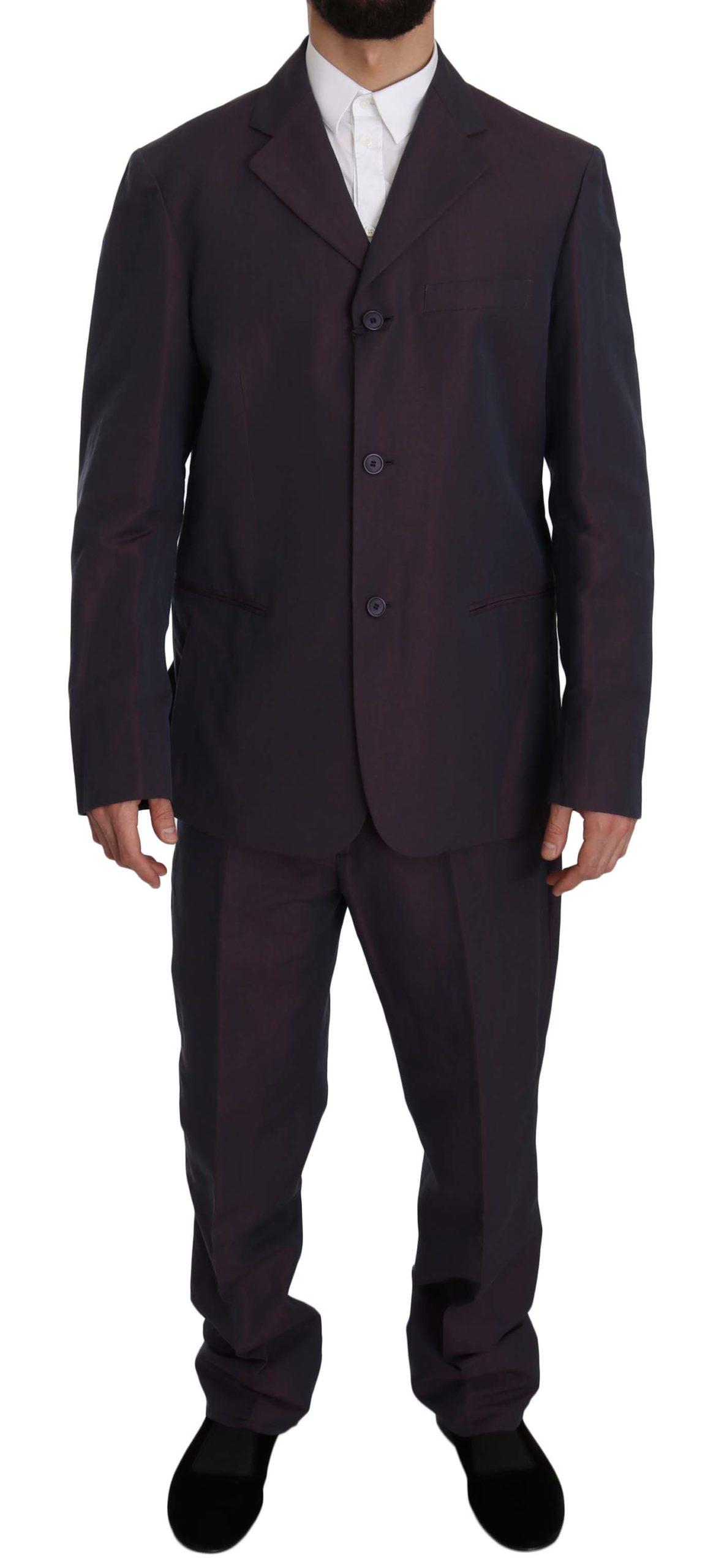 Romeo Gigli Men's Solid Two Piece 3 Button Linen Suit Purple KOS1435 - IT52   XL