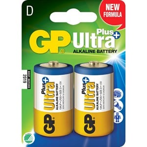 Batteri GP Alkaline Ultra Plus D LR20, 2-pack