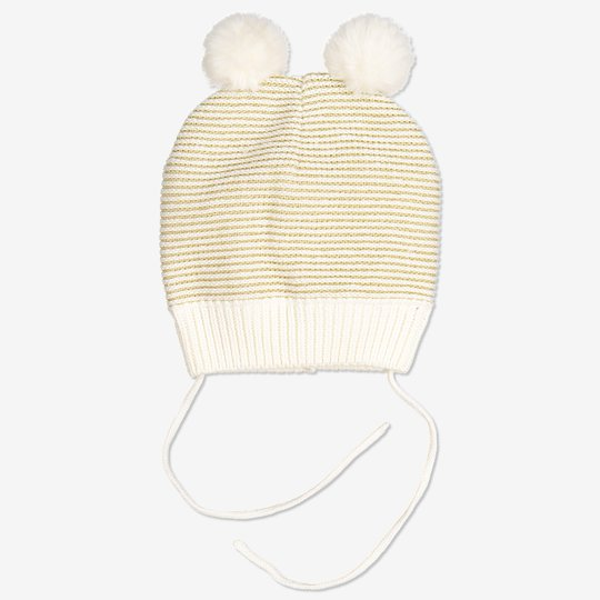Strikket lue med pompong baby hvit