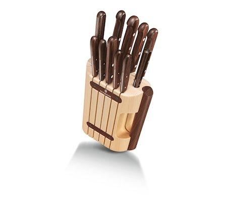 Knivsett 11 deler i rosentre med knivblokk