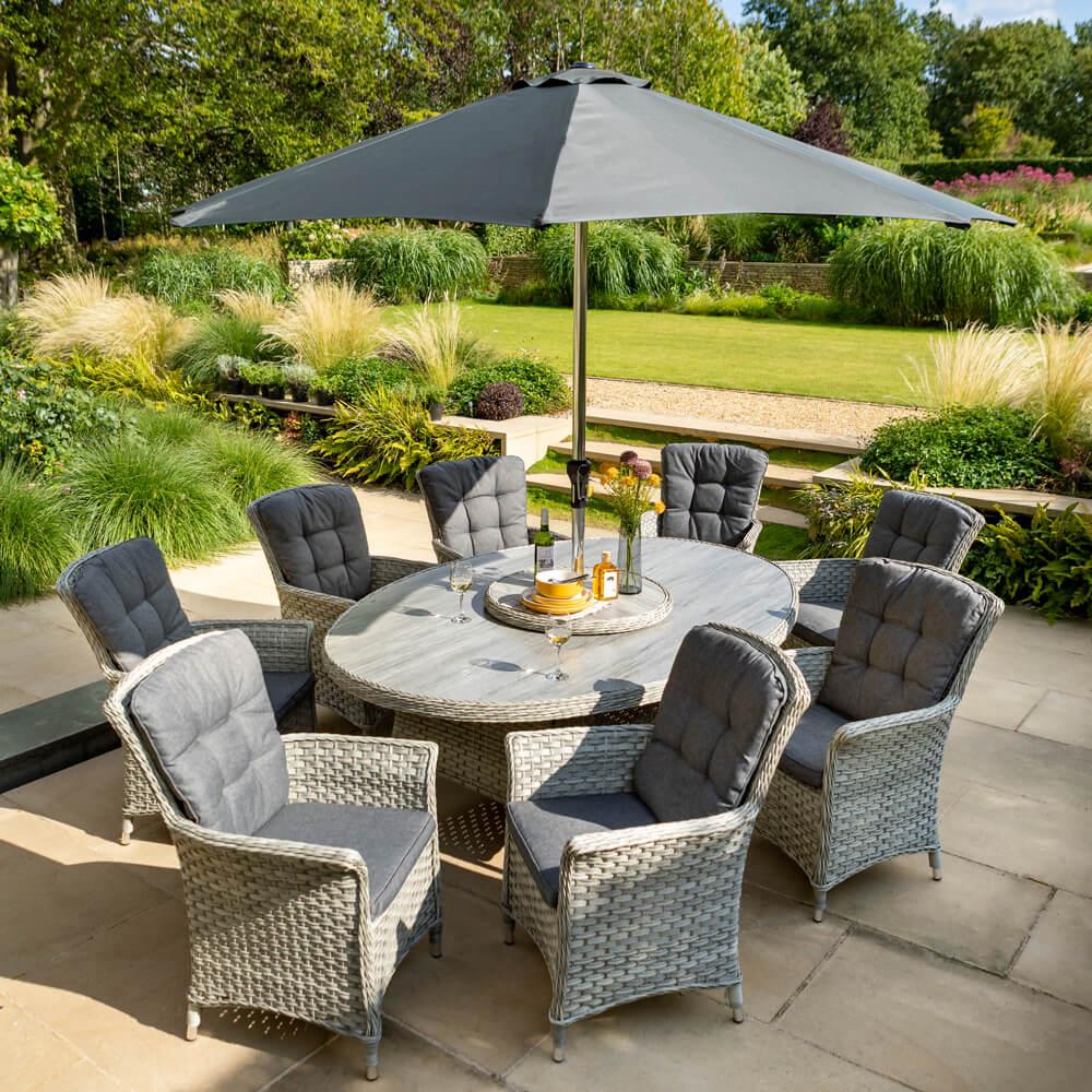 2021 Hartman Heritage Tuscan 8 Seat Elliptical Dining Set with Lazy Susan and 3 Metre Parasol - Ash/Slate