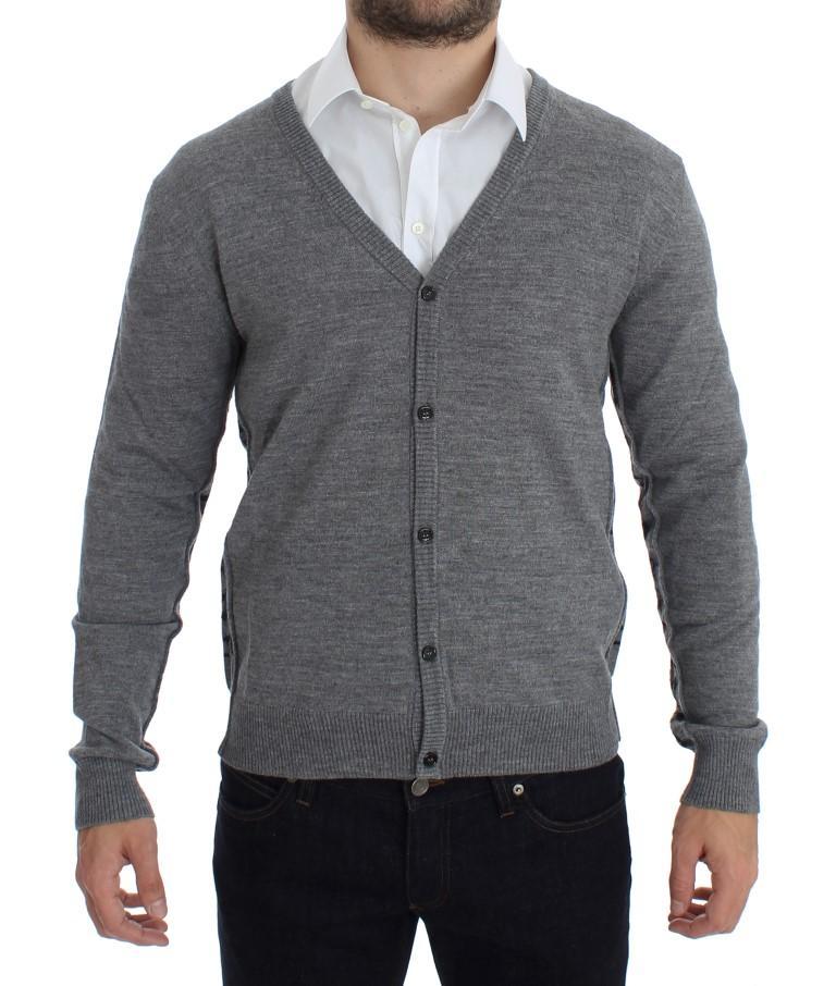 John Galliano Men's Wool Button Down Logo Cardigan Gray SIG17764 - XXL