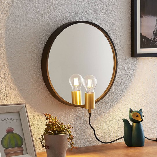 Lindby Lumani vegglampe med speil, svart
