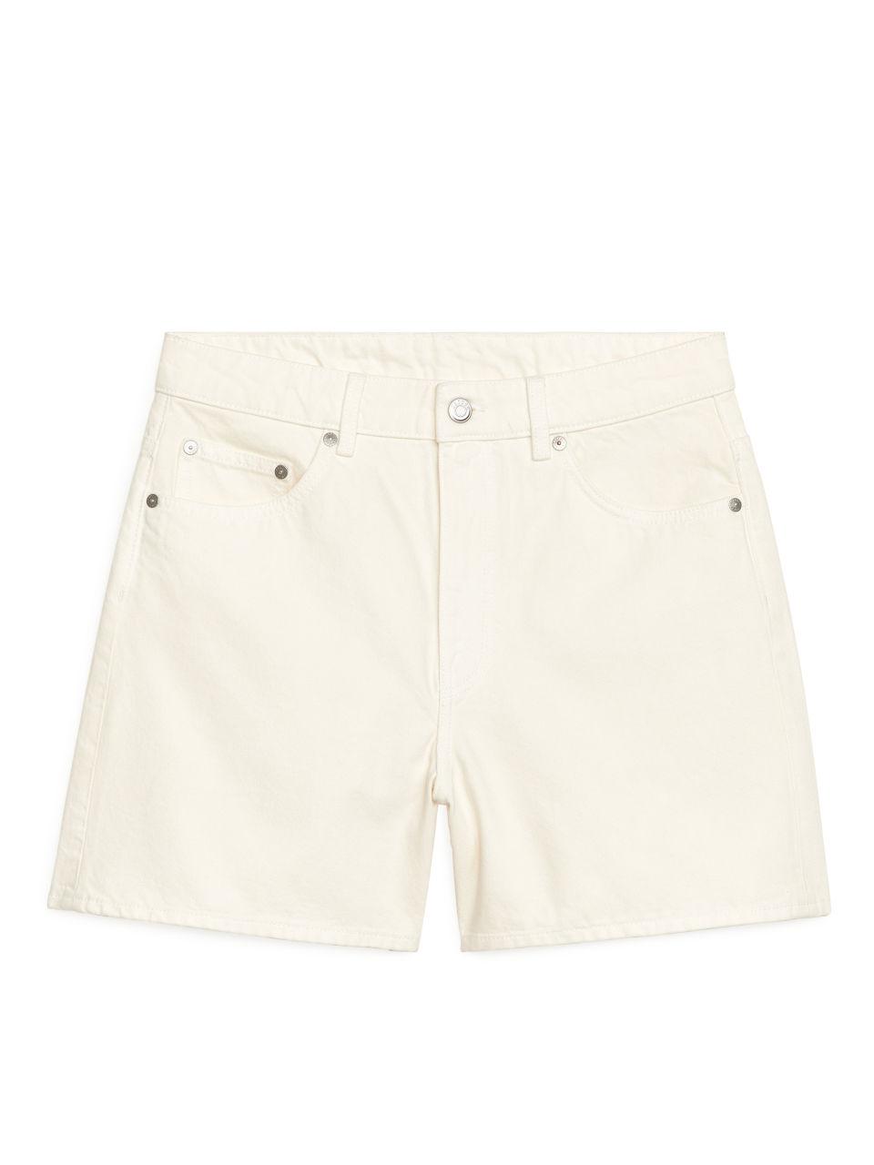 High Waist Denim Shorts - White