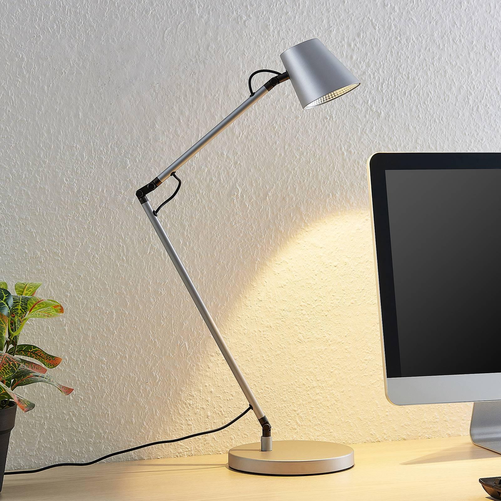 Lucande Tarris -LED-pöytälamppu, hopea