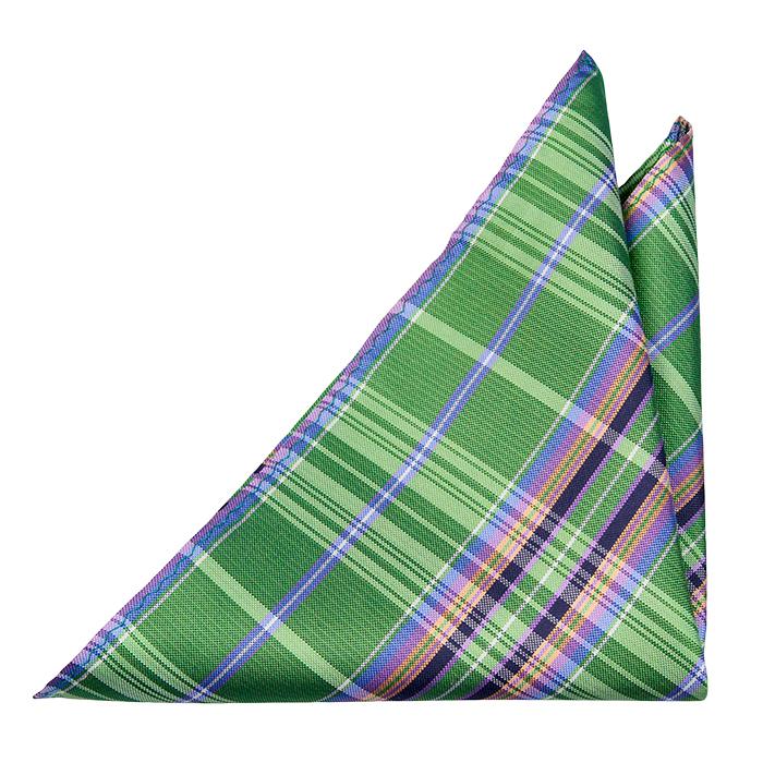 Silke Lommetørkler, Grønn, blå, svart, orange & lilla Madras pledd, Notch GANESH