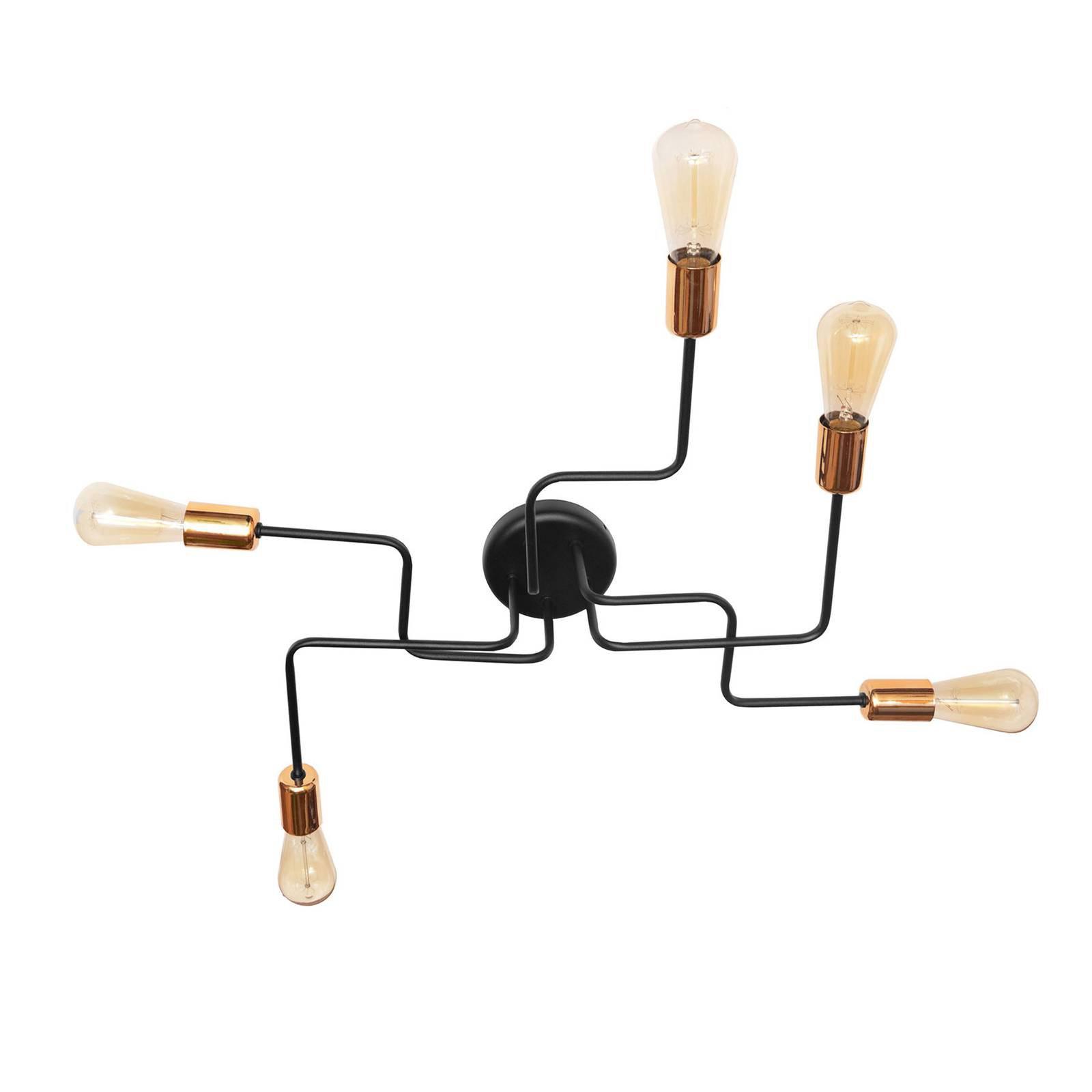 Taklampe Tube, 5 lyskilder, svart/kobber