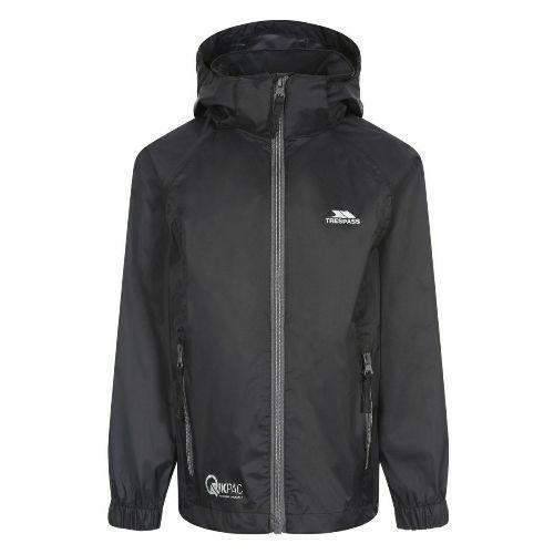 Trespass Kid's Waterproof Jacket Various Colours Qikpac - Black Carbon 3-4 Years