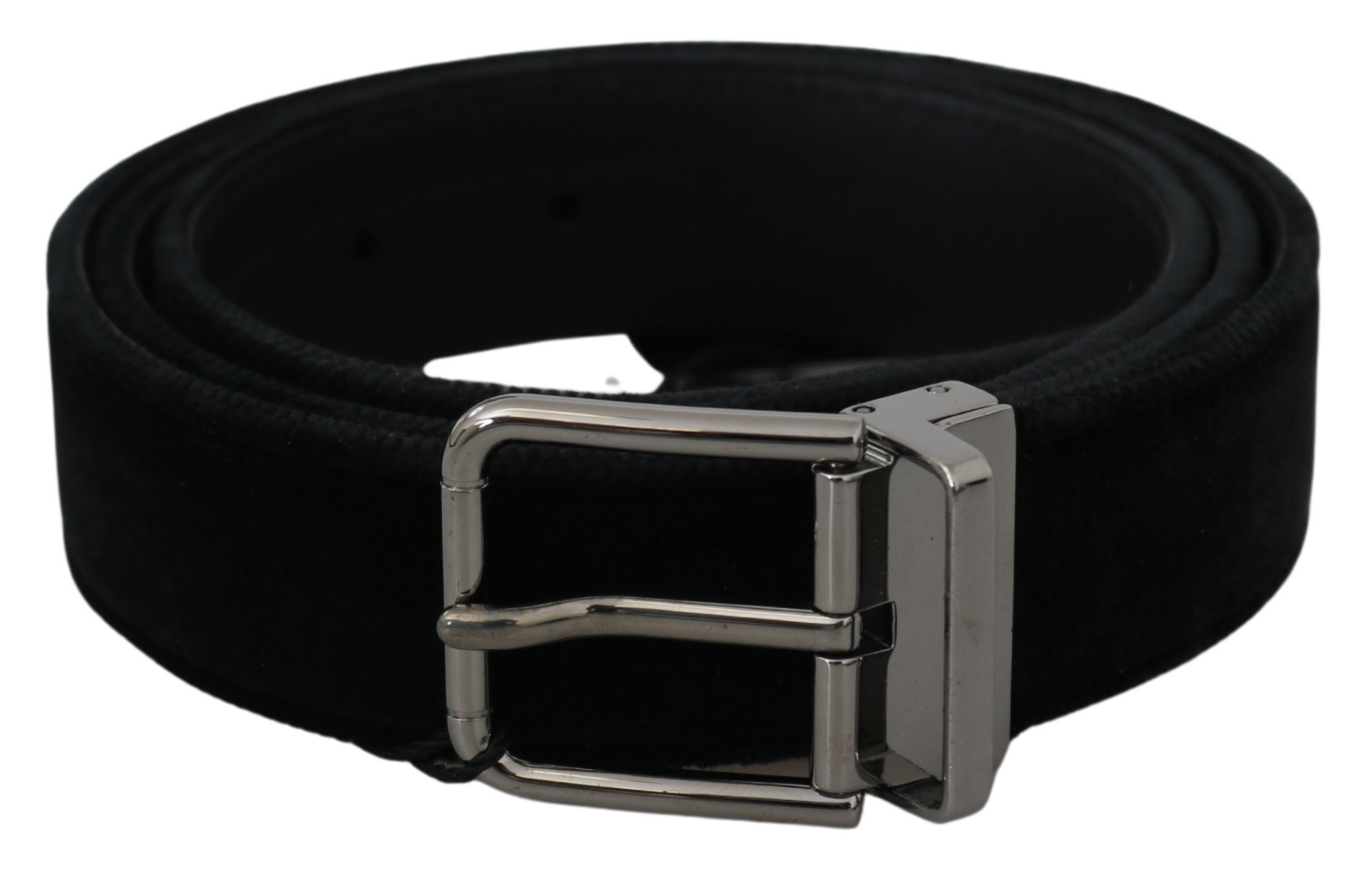 Black Velvet Leather Silver Buckle Belt - 95 cm / 38 Inches