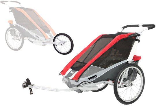 Thule Chariot Cougar 2 med Sykkel- og joggesett, Rød