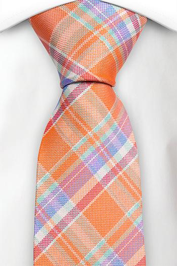 Silke Slips, Lys orange Madras pledd, med rød, blå og lilla, Notch DEEPAK