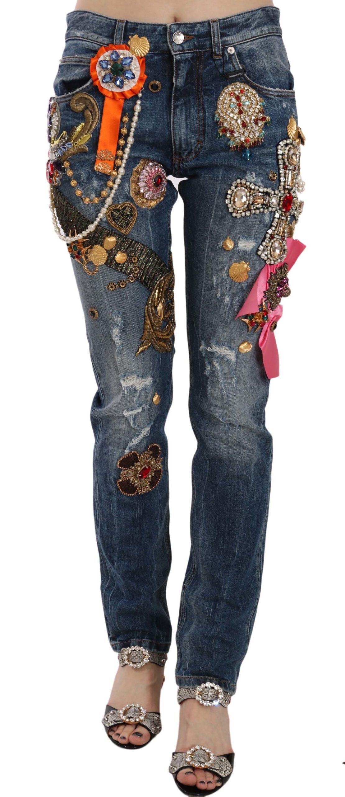 Dolce & Gabbana Women's Crystal Embellished Cross Skinny Trouser Blue PAN70048 - IT38|XS