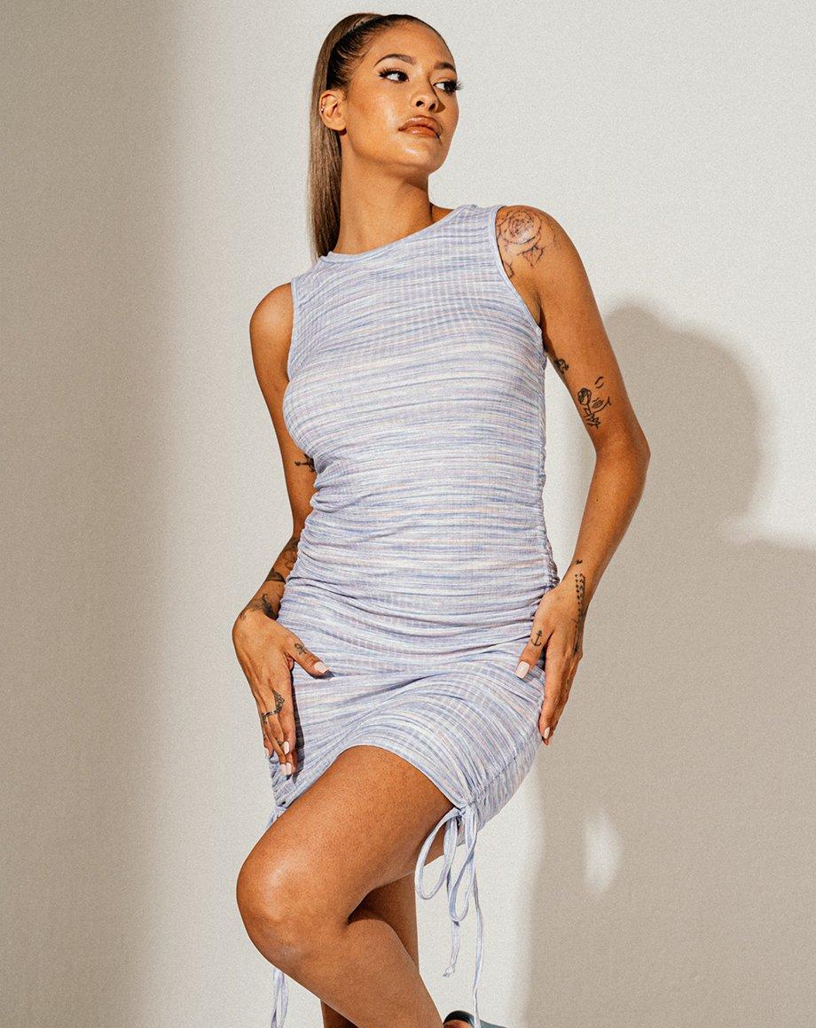 Multi Sleeveless Ruched Dress - Blue / 6
