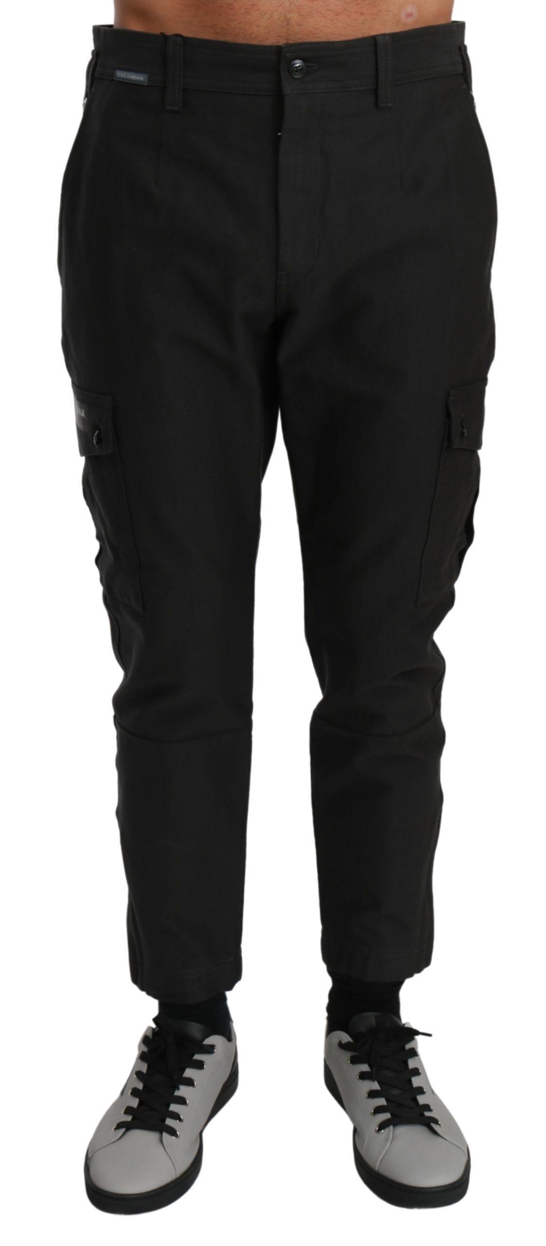Dolce & Gabbana Men's Cargo Casual Cotton Trouser Gray PAN70991 - IT48   M