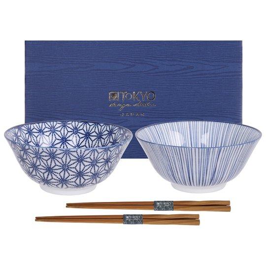 Tokyo Design Studio Nippon Blue skålset med ätpinnar