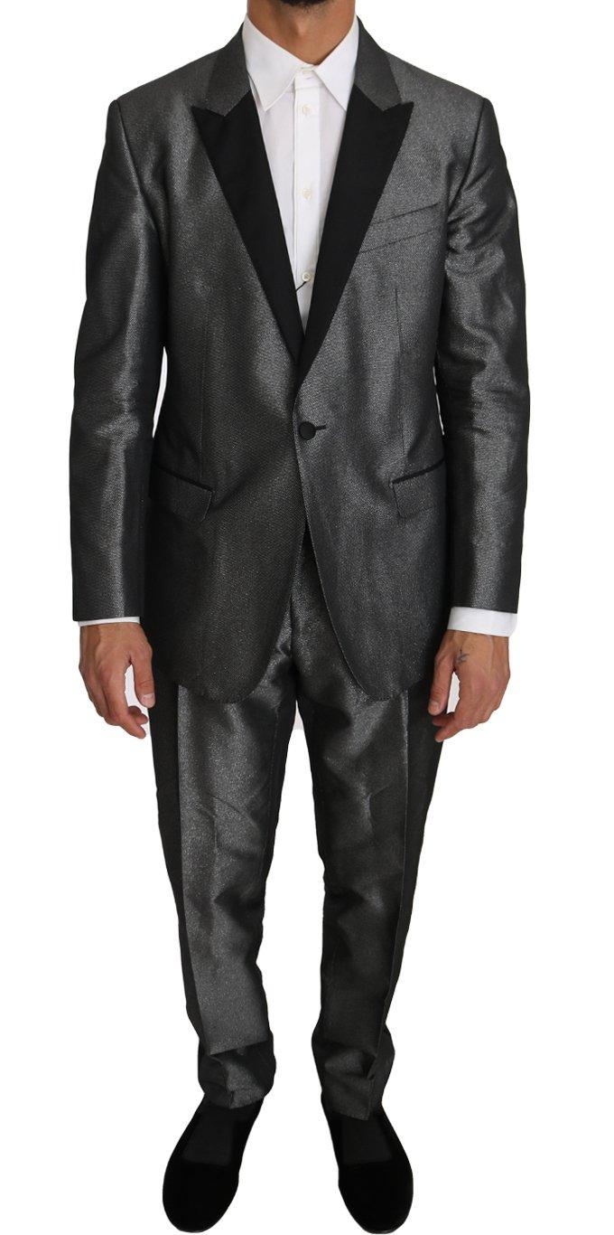 Dolce & Gabbana Men's Patterned MARTINI 2 Piece Suit Gray KOS1210 - IT54   XXL