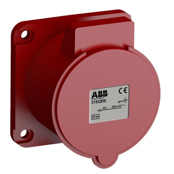 ABB 2CMA102308R1000 Paneluttak hurtigtilkoblet, vibrasjonsbestandig Rett, 4-polet, 16 A, 60x60 mm