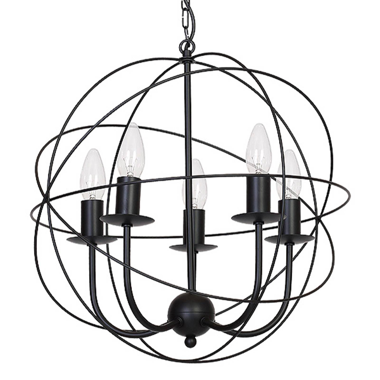 Kattokruunu Globe 5-lamppuinen, musta