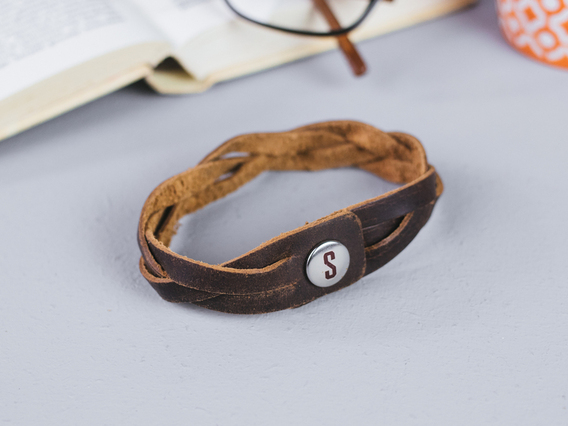 Small Braided Leather Bracelet Brown Small