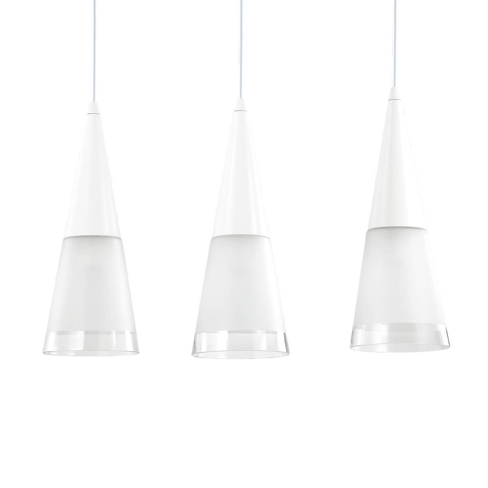 Riippuvalo Cono 3-lamppuinen valkoinen/läpinäkyvä