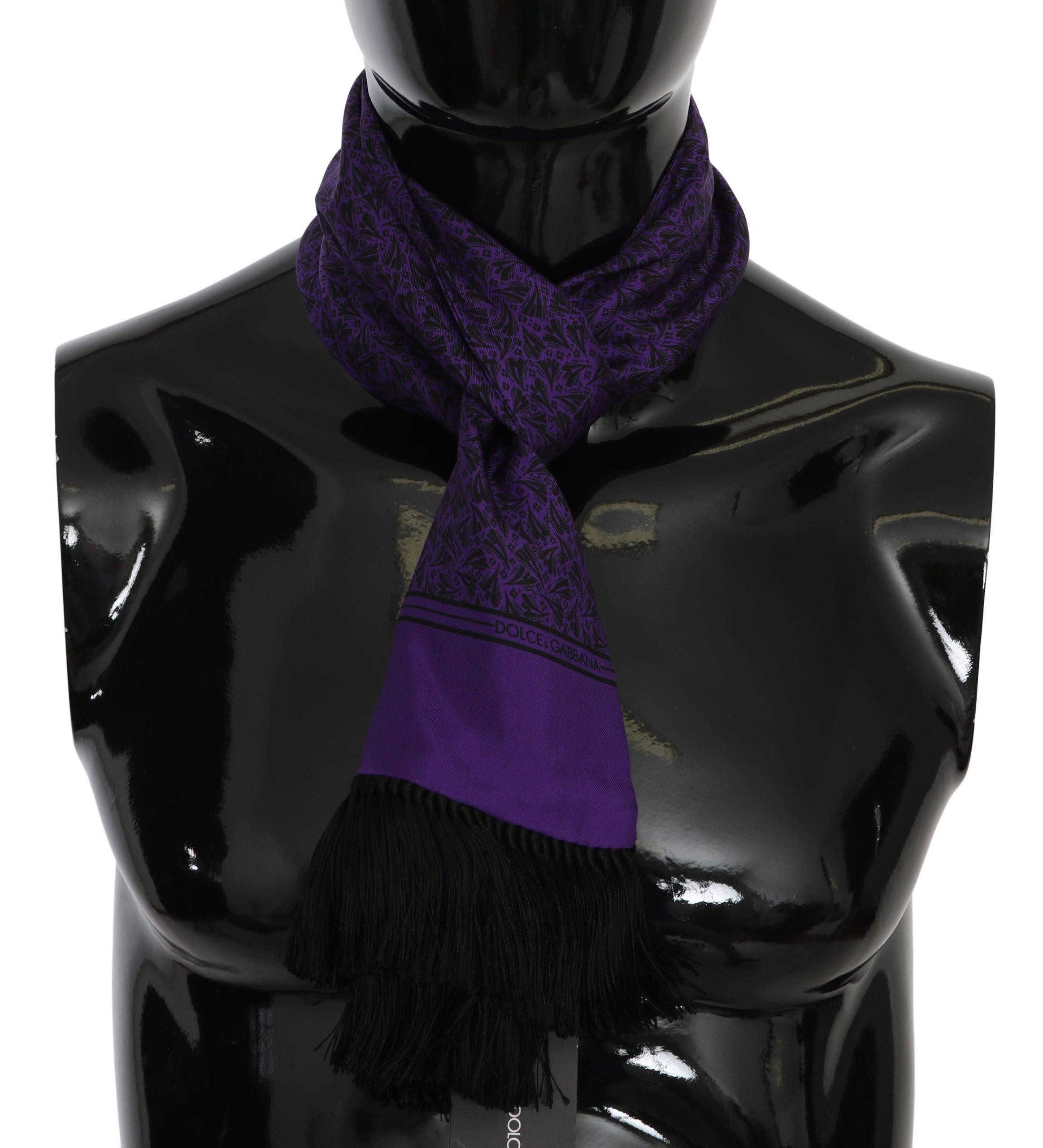 Dolce & Gabbana Men's Printed Fringe Wrap Scarf Purple 294198808092