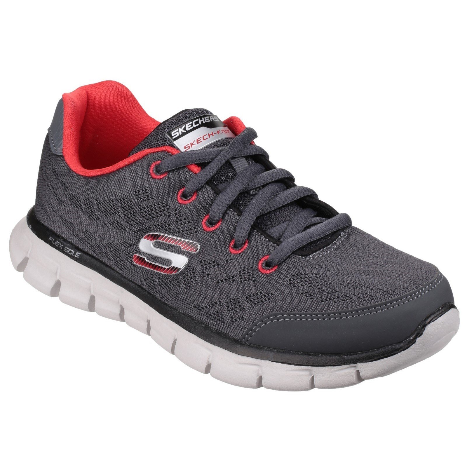 Skechers Kid's Synergy Fine Tune Lace up Trainer Multicolor 23918 - Grey/Red 13.5