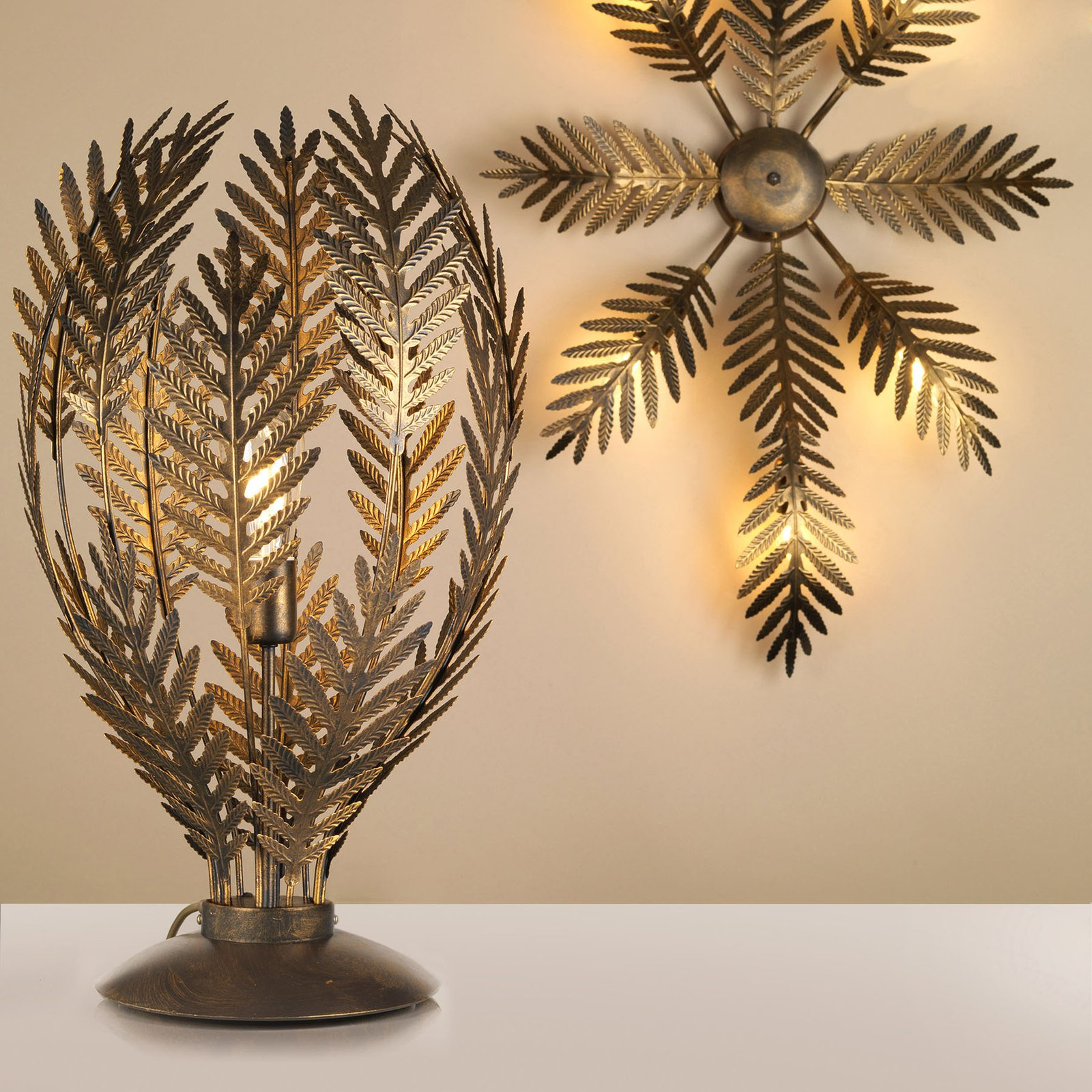Bordlampe Felce som bregne i bronse, høyde 61 cm