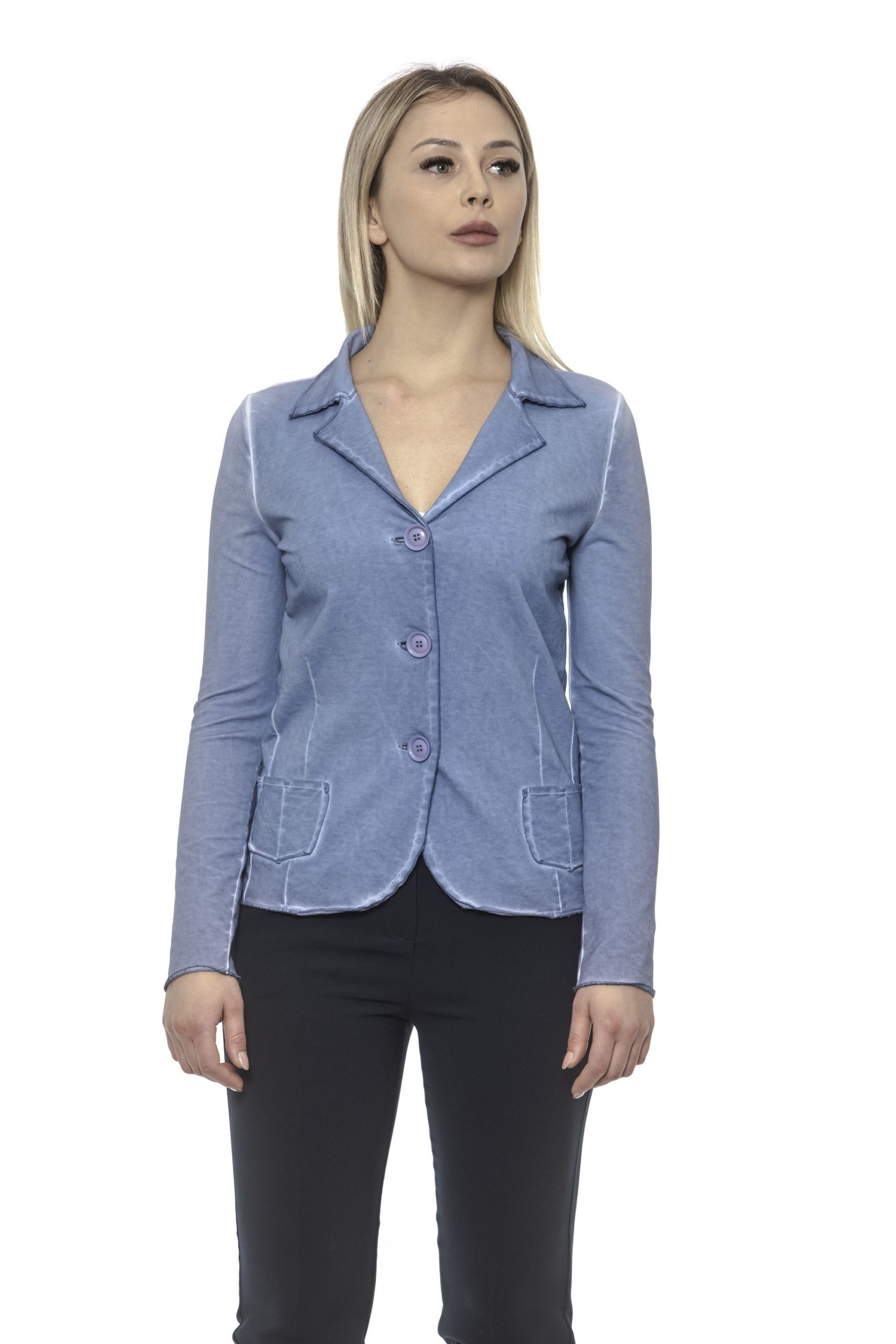 Alpha Studio Women's Chambray Blazer Light Blue AL1374698 - IT40 | XS