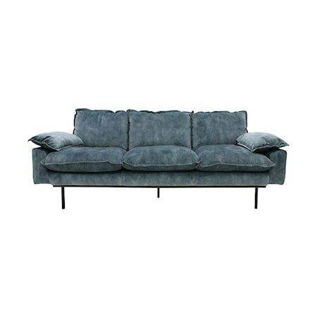 Retro Sofa Fløyel 3-seter Blå