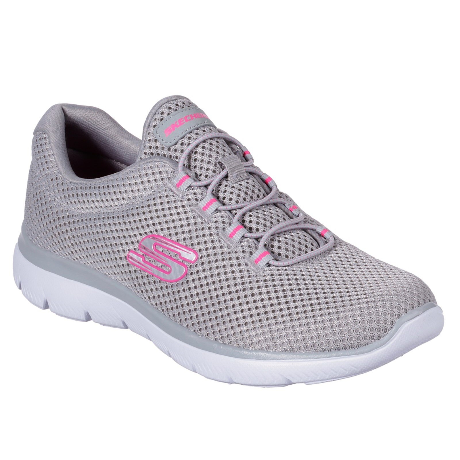 Skechers Women's Summits Slip On Trainer Various Colours 30708 - Grey/Hot pink 5