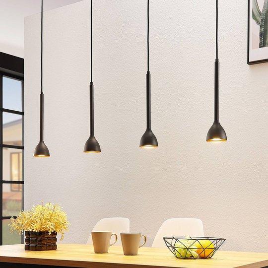 Riippuvalo Nordwin, 4-lamppuinen, musta-kulta