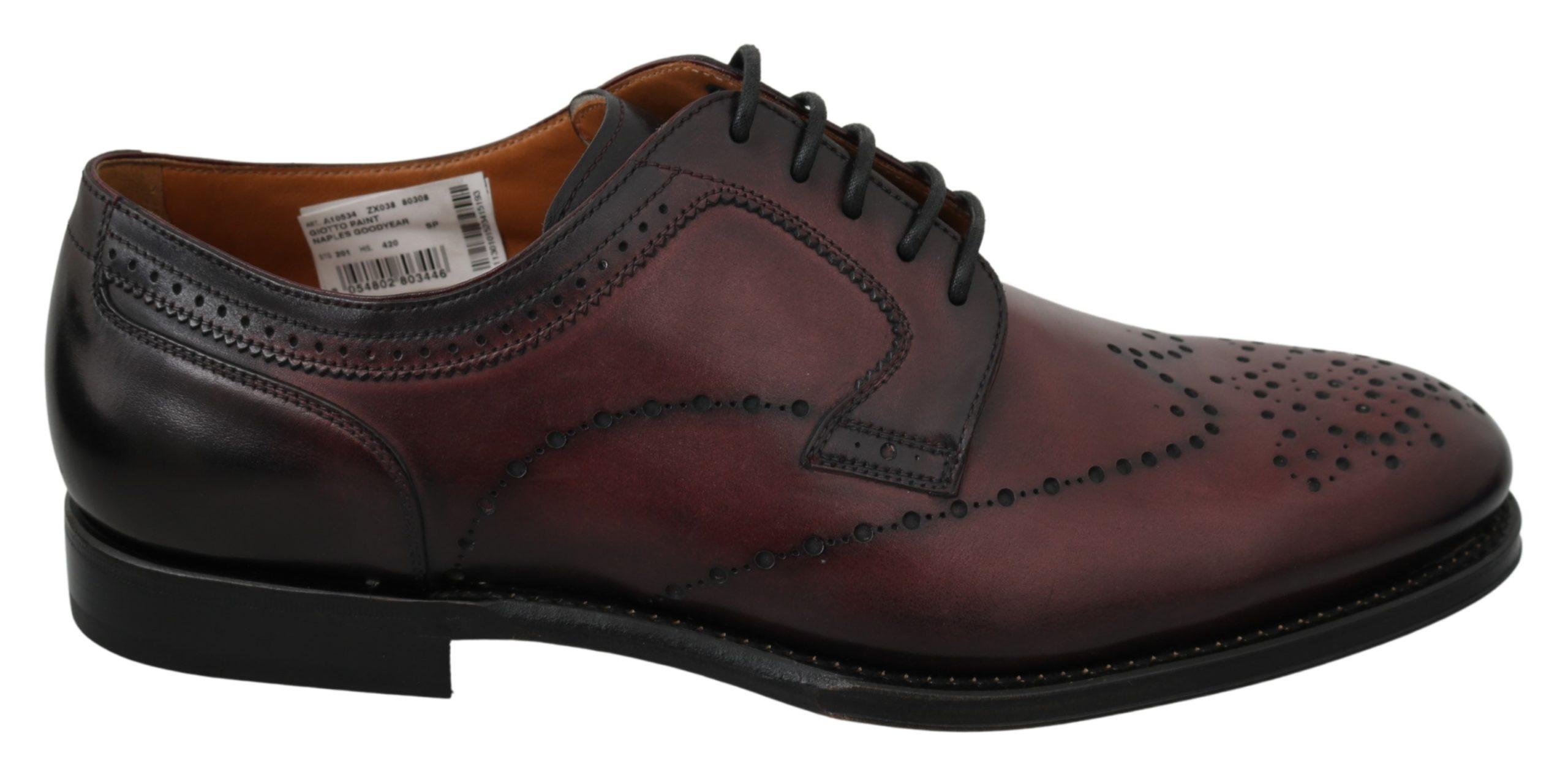 Dolce & Gabbana Men's Leather Formal Brogue Shoe Bordeaux MV2880 - EU42/US9