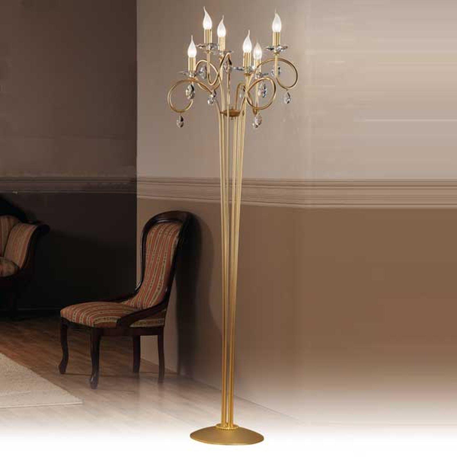 VIOLETTA stålampe i gull med seks lys