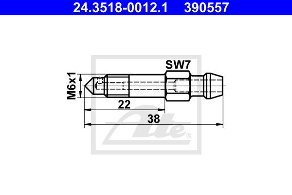 Huohottimen pultti / venttiili ATE 24.3518-0012.1