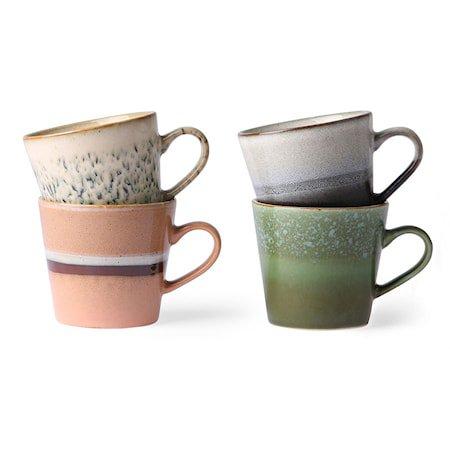 Ceramic 70's Cappuccino Kopp 4 stk