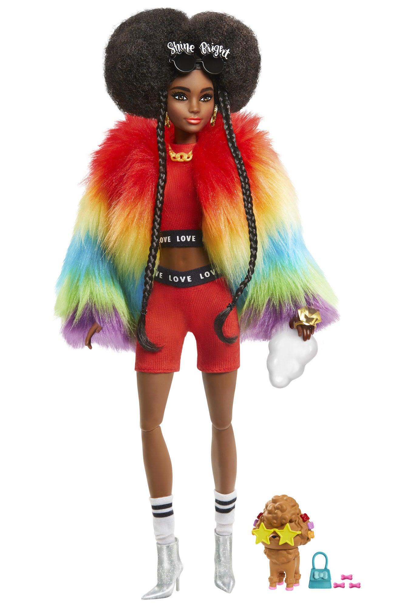 Barbie Extra Doll Rainbow Coat Docka