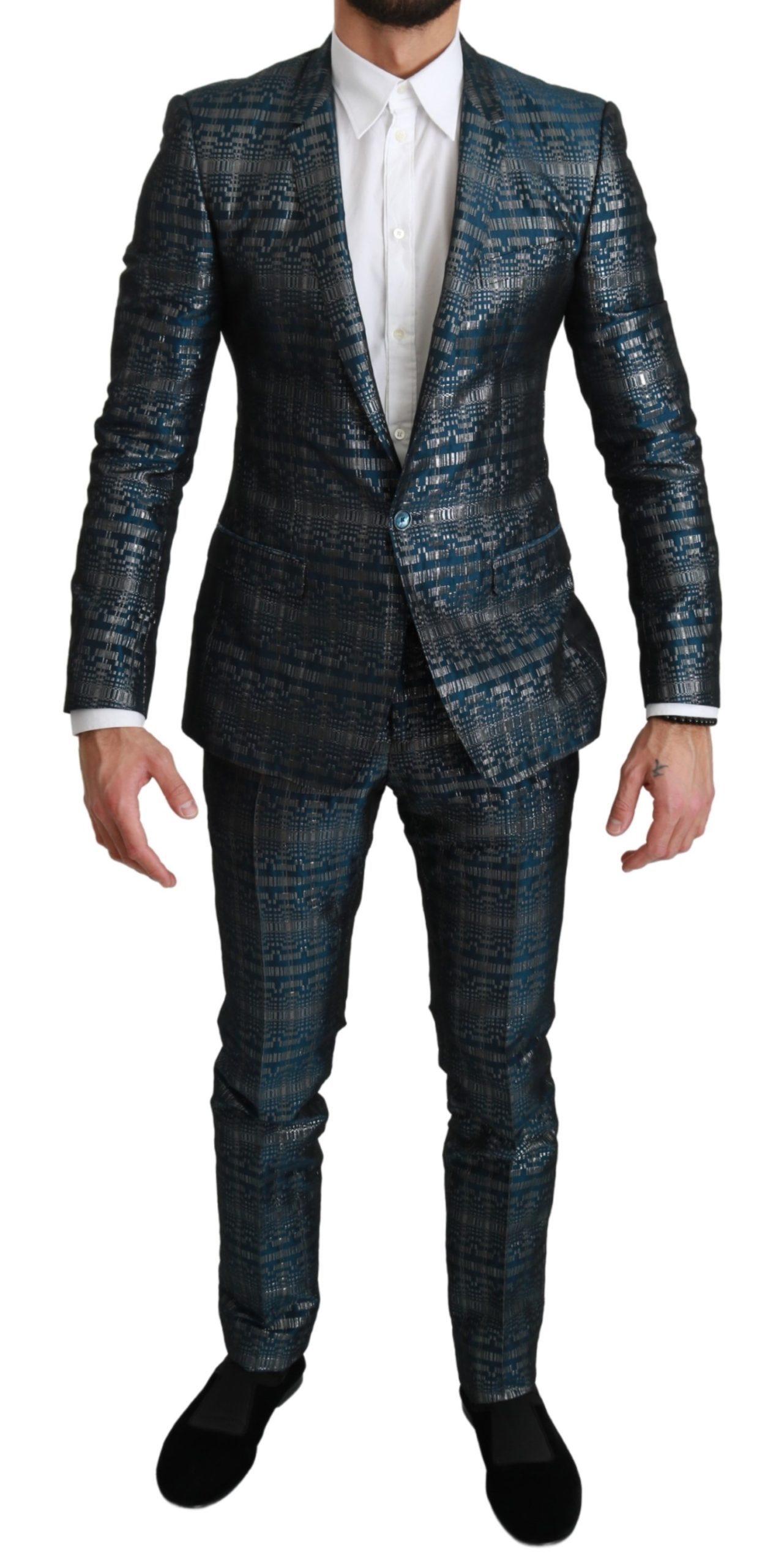 Dolce & Gabbana Men's GOLD Jacquard 2 Piece Suit Blue KOS1665 - IT46 | S