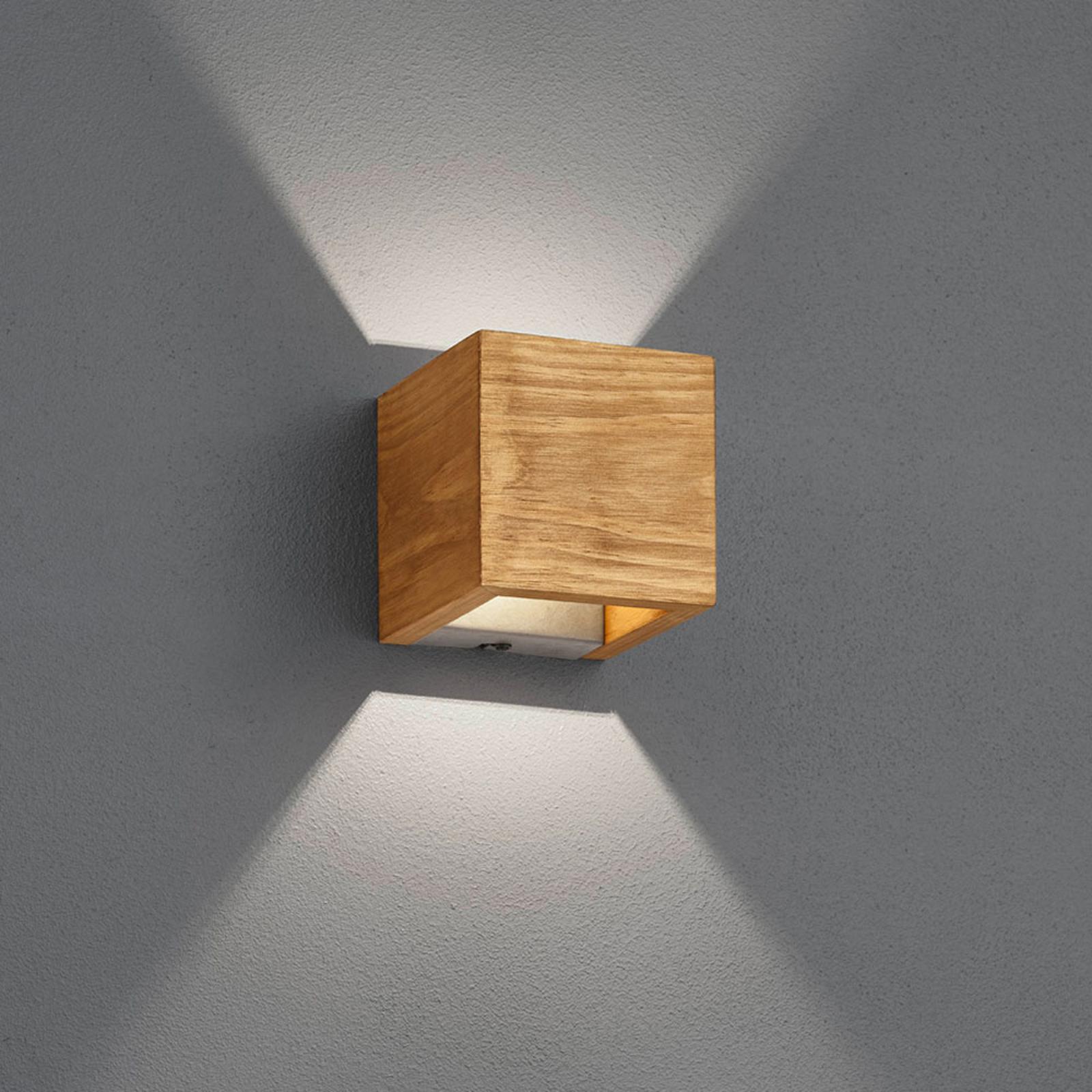 LED-seinävalaisin Brad puusta, ylös/alas, 11x11 cm