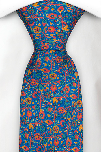 Silke Slips, Små røde, grønne & orange blomster på blå base, Blå, Blomster