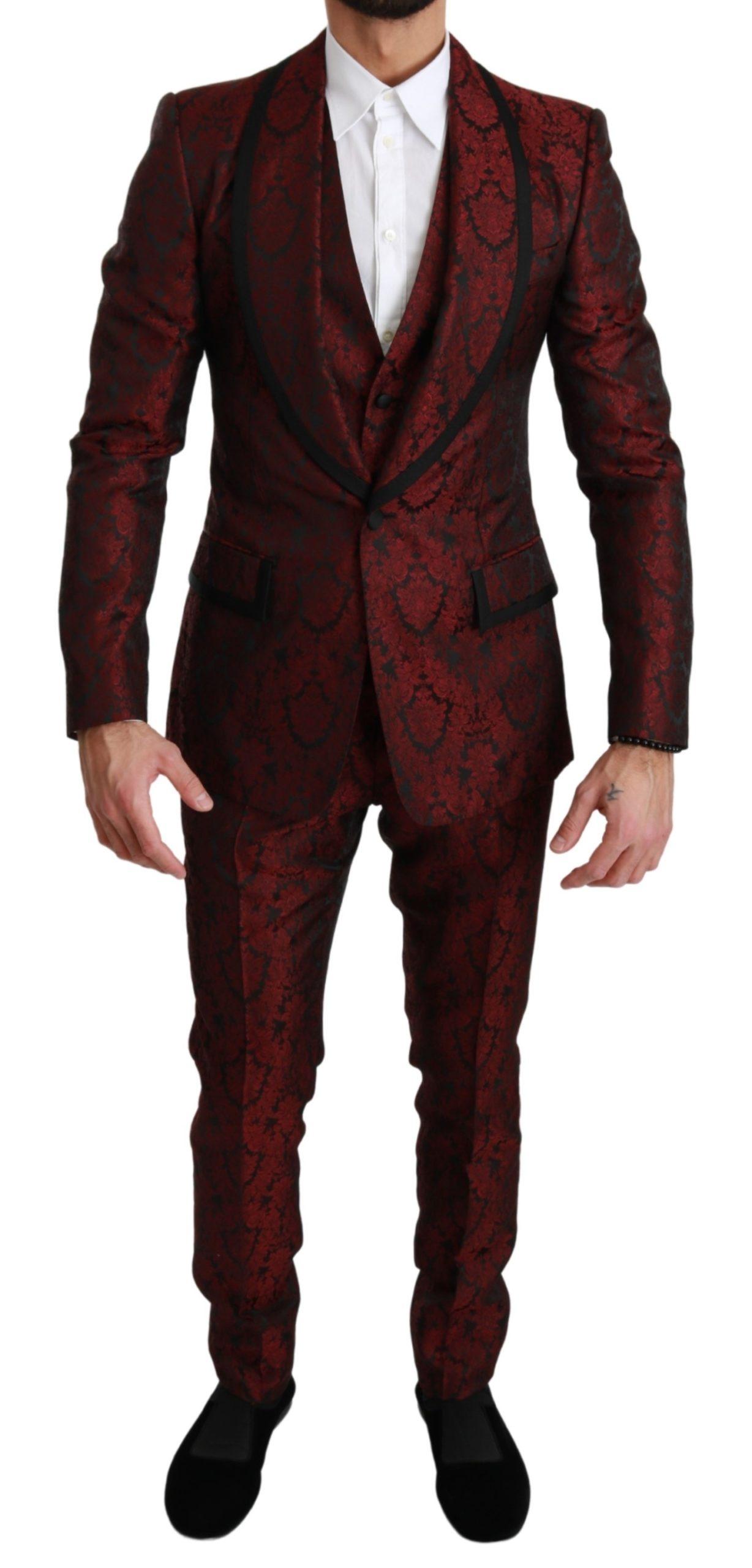 Dolce & Gabbana Men's Jacquard Floral Pattern 3 Piece Suit Bordeaux KOS1671 - IT44   XS