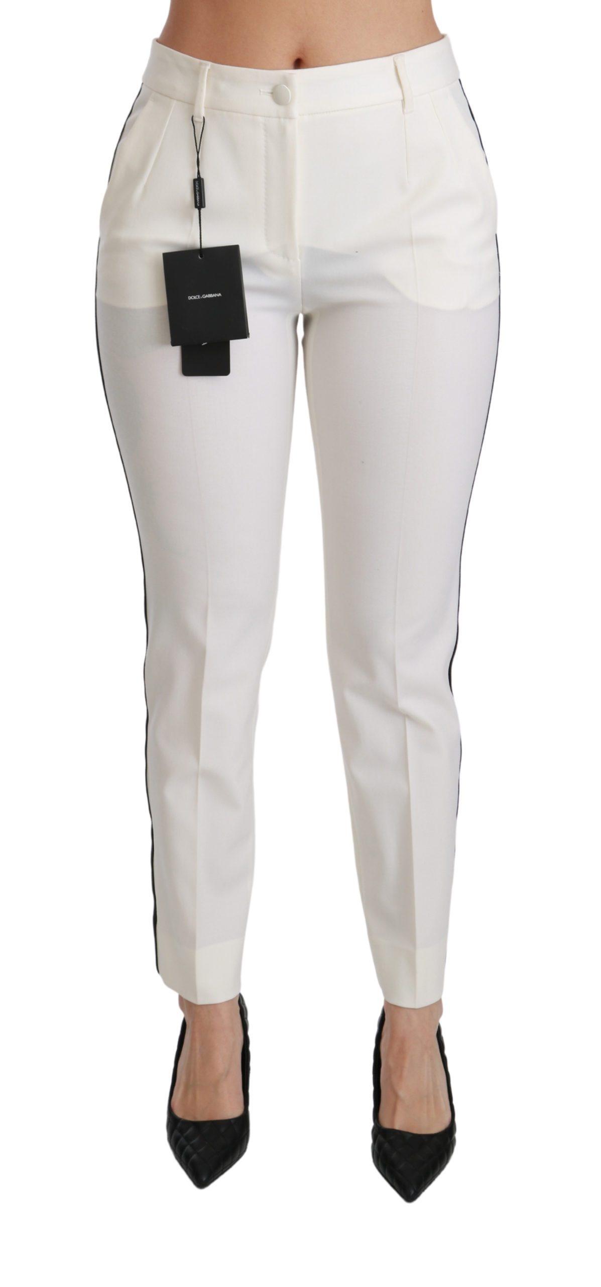 Dolce & Gabbana Women's High Waist Skinny Slim Cropped Trouser White PAN70832 - IT42|M