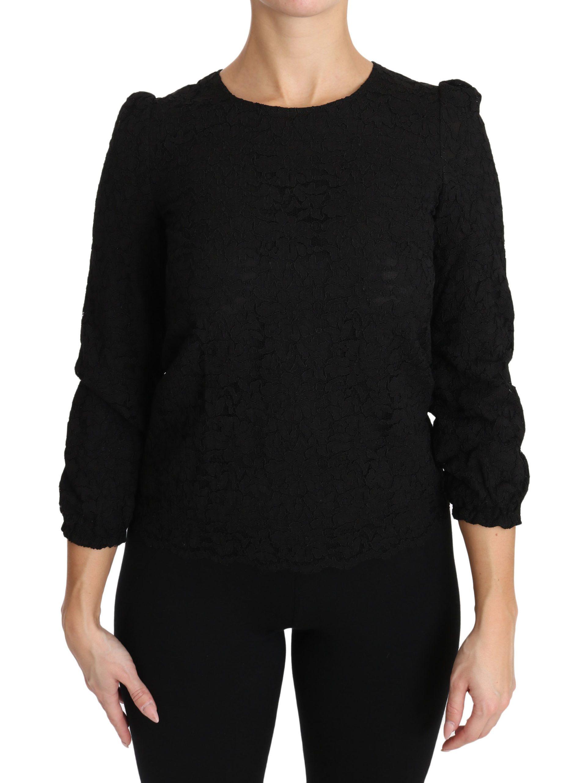 Dolce & Gabbana Women's Floral Lace Zipper Top Black TSH3029 - IT36 | XS