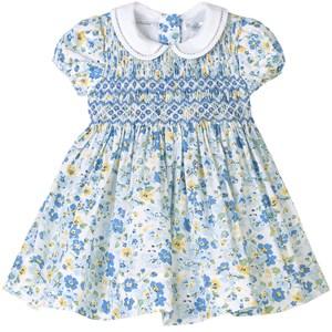 Ralph Lauren Multi Floral Smocked Klänning Blå 9 mån