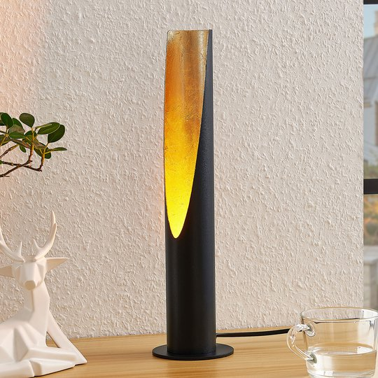 Lindby Leandro bordlampe, GU10, svart gull