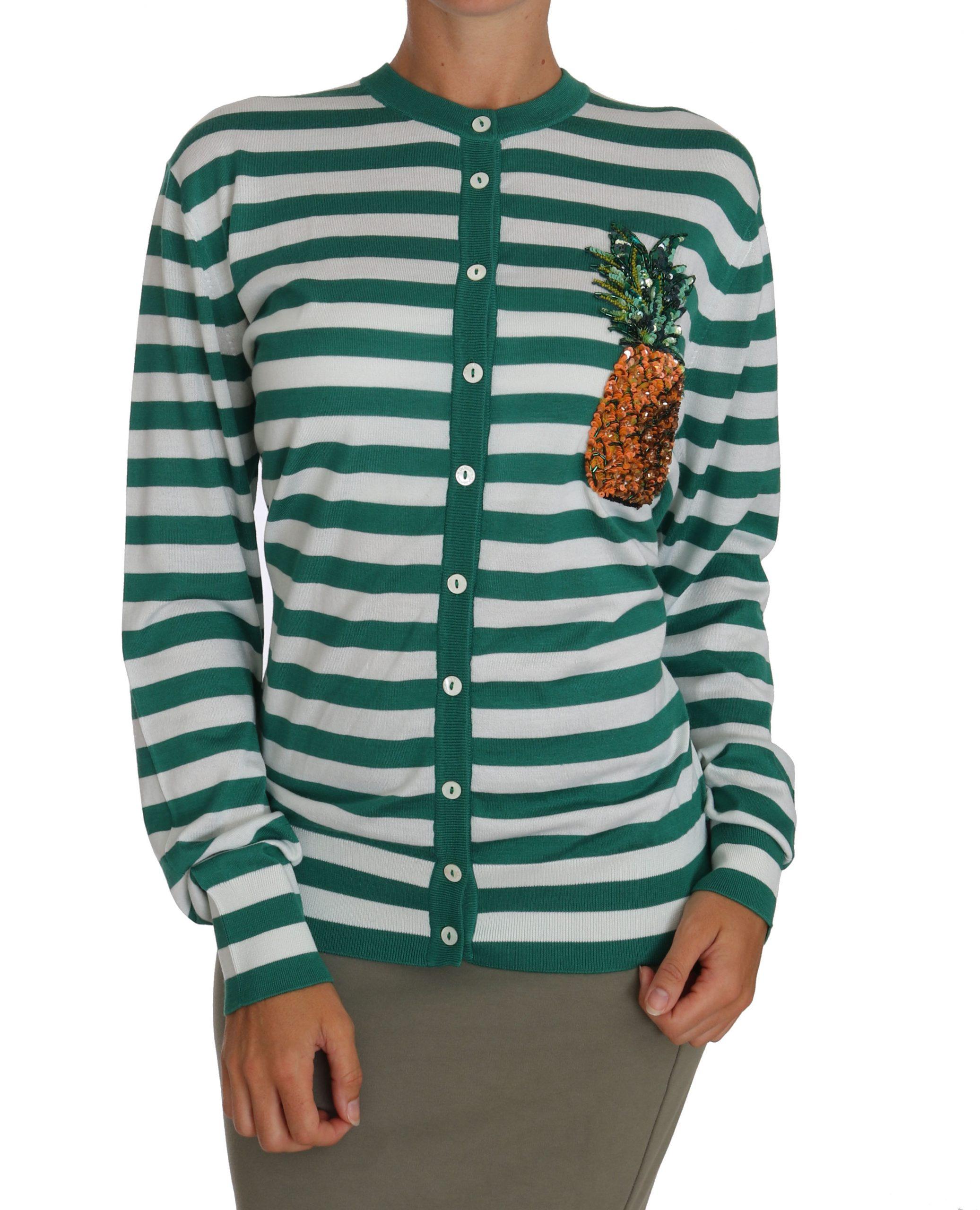 Dolce & Gabbana Women's Embellished Striped Cardigan Green TSH2752 - IT46 | L